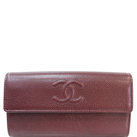CHANEL Timeless CC Large Gusset Flap Caviar Wallet Burgundy