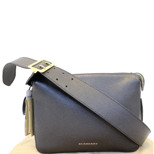 126791254a BURBERRY Helmsley House Check Grained Leather Crossbody Bag