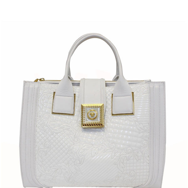 Versace Vanitas Satchel Handbag White - Patent Leather