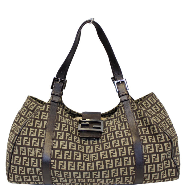 FENDI Zucchino Canvas Shoulder Bag Brown-US