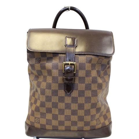 LOUIS VUITTON Soho Damier Ebene Backpack Bag Brown