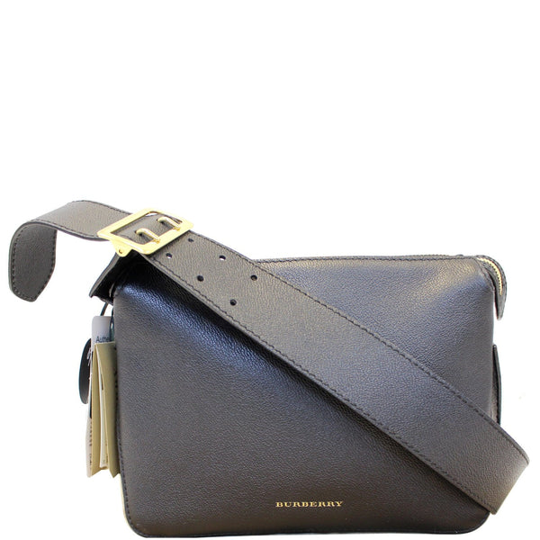 BURBERRY Helmsley House Check Grained Leather Crossbody Bag