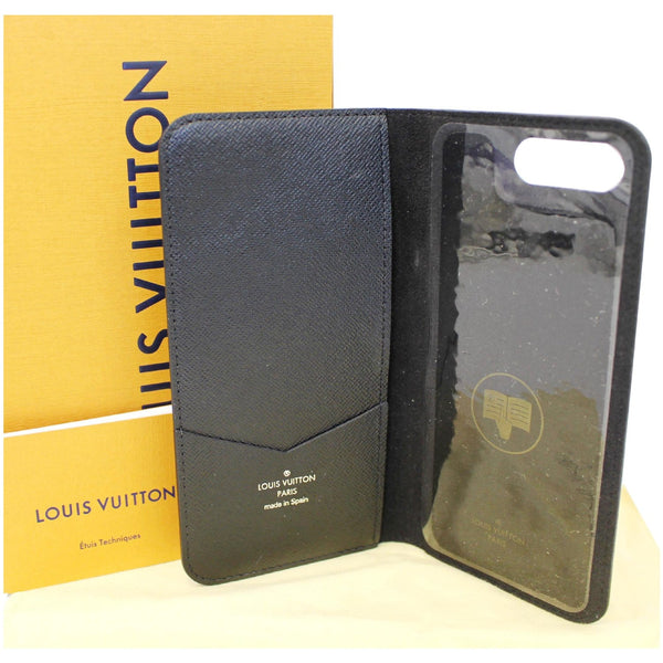 Louis Vuitton Folio Case For iPhone 7 Plus Damier - shiny black