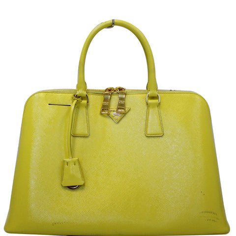 PRADA Saffiano Lux Leather Top Handle Satchel Bag Yellow