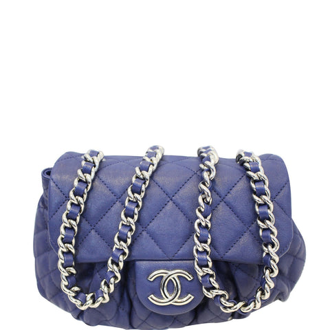 Chanel Chain Around Messenger Calfskin Crossbody Bag Navy Blue