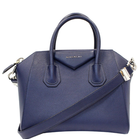GIVENCHY Antigona Small Goatskin Leather Shoulder Bag Blue