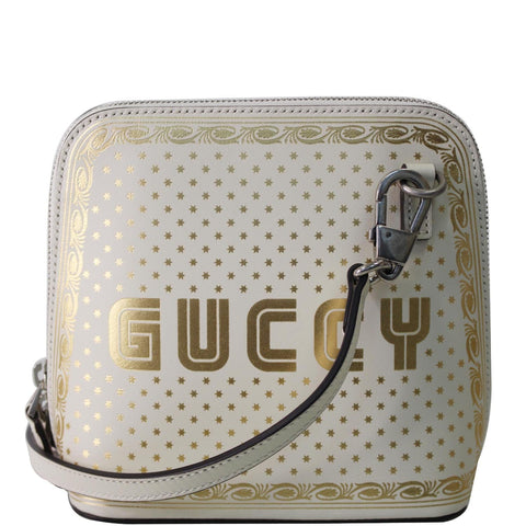GUCCI Moon Steller Guccy Leather Crossbody Bag Ivory