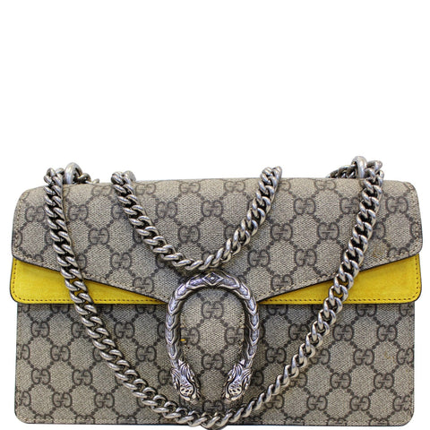 GUCCI Dionysus Small GG Supreme Canvas Shoulder Bag Beige 400249