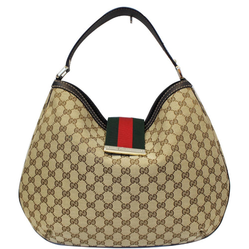 GUCCI New Ladies Web GG Canvas Large Hobo Bag Beige 233604