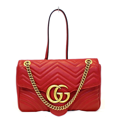 5b58e935e506 GUCCI GG Marmont Matelasse Red Leather Shoulder Bag