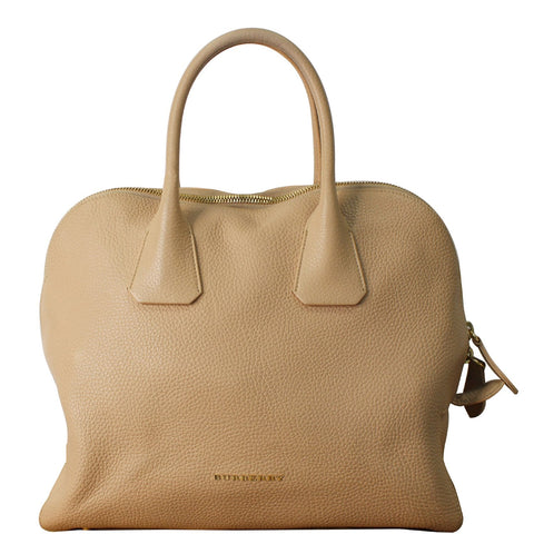 BURBERRY London Greenwood Grainy Leather Bowling Bag Nude
