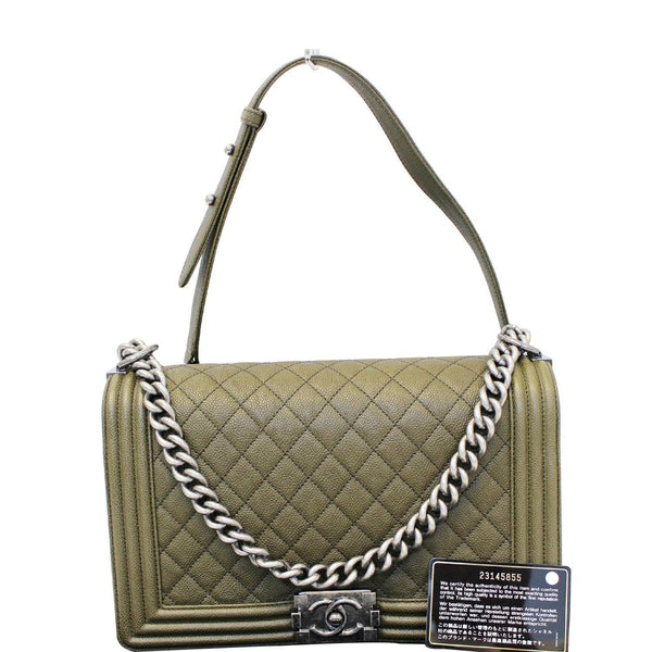 CHANEL Medium Boy Flap Caviar Leather Shoulder Bag Olive Green