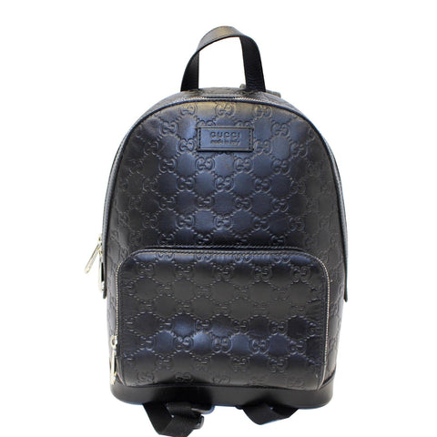 GUCCI Signature Leather Backpack Bag Black