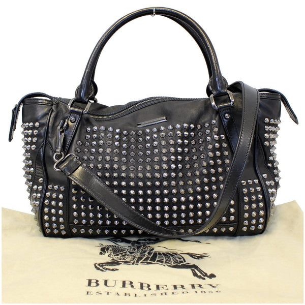 BURBERRY Studded Leather Satchel Shoulder Bag Black-US