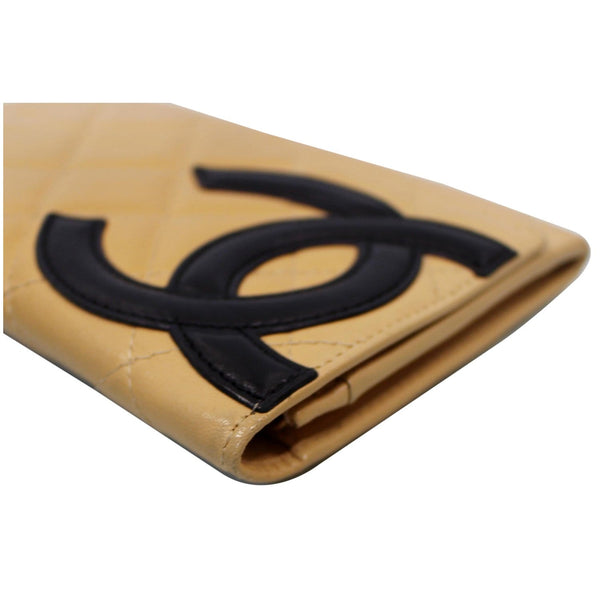 Chanel Cambon Flap Calfskin Quilted Wallet Beige logo view