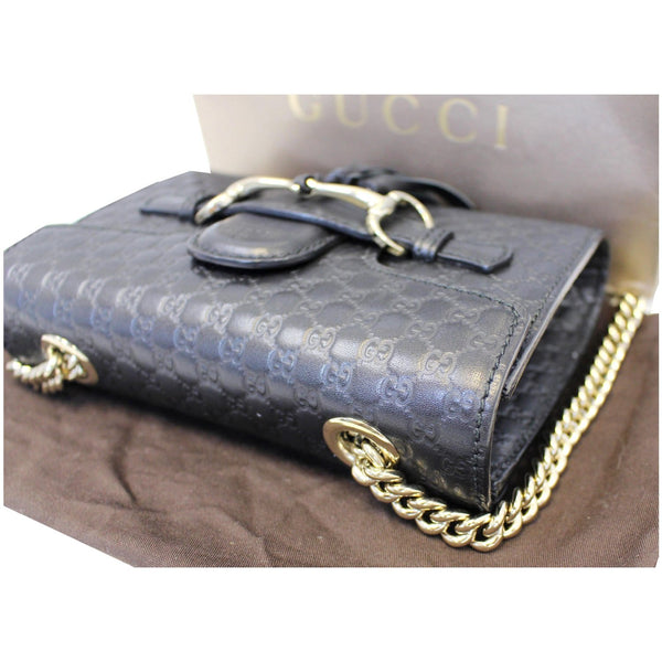 Gucci Shoulder Bag Emily Mini Micro GG Guccissima - gold chain