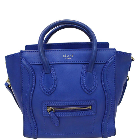 CELINE Nano Luggage Smooth Leather Tote Crossbody Bag Blue