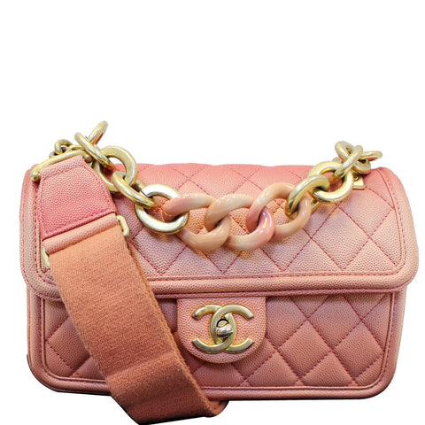 CHANEL Sunset On The Sea Caviar Leather Small Flap Shoulder Bag Coral