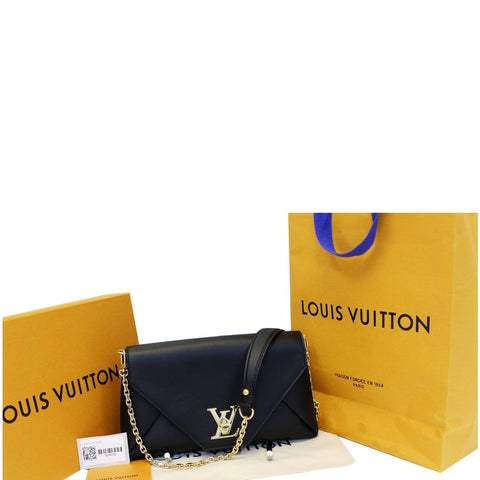 LOUIS VUITTON Love Note Calfskin Leather Shoulder Bag Black