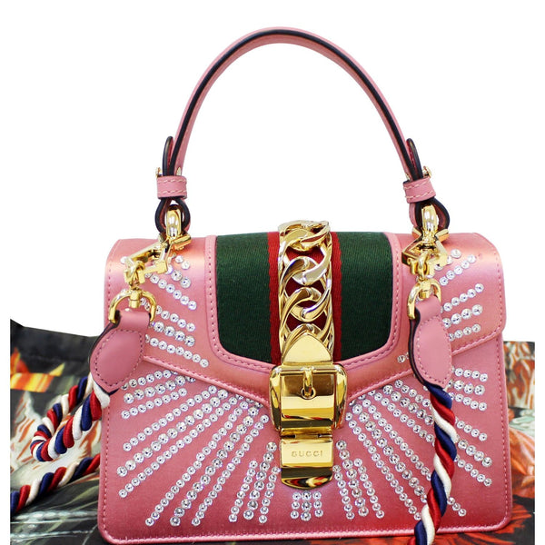 GUCCI Mini Sylvie Satin Crystal Shoulder Bag Peony-US
