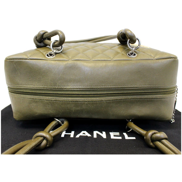 CHANEL Cambon Line Leather Shoulder Bag Dark Green