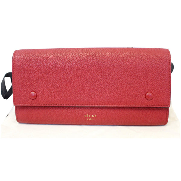 CELINE Large Flap Multifunction Leather Wallet Red-US
