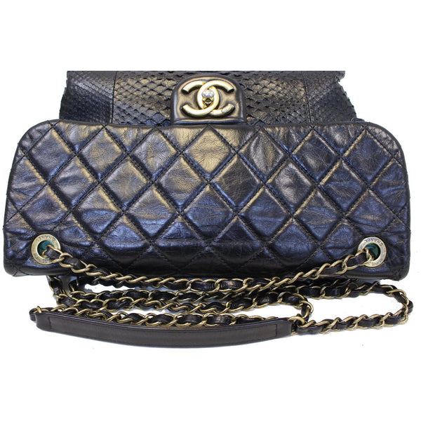 Chanel Urban Mix Flap Calfskin Python Shoulder Bag Black with chain
