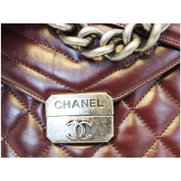CHANEL Quilted Sheepskin Flap Bag With Handle Shoulder Bag Burgundy