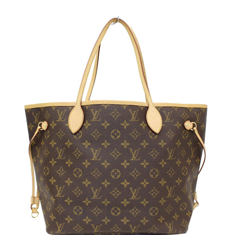 LOUIS VUITTON Neverfull MM Monogram Canvas Tote Bag Brown
