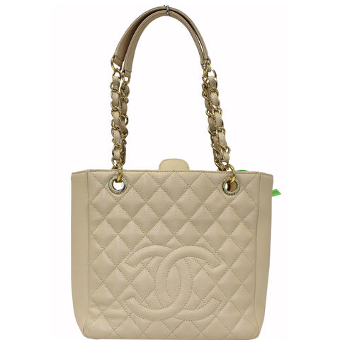 CHANEL PST Caviar Leather Petit Shopping Tote Bag Beige