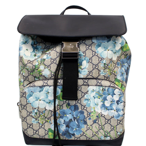 GUCCI Blooms Print GG Canvas Backpack Blue 406398