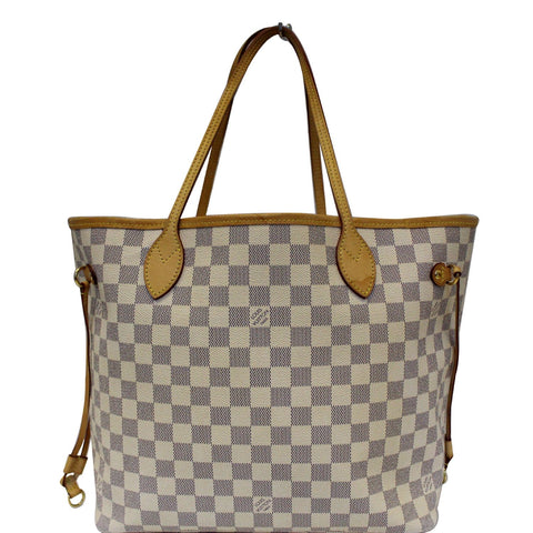 LOUIS VUITTON Neverfull MM Damier Azur Tote Shoulder Bag White