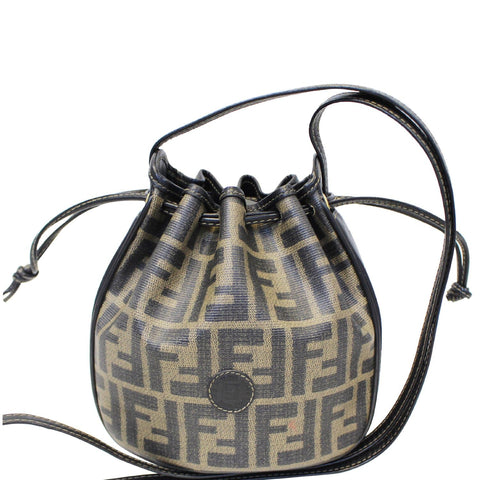 FENDI Drawstring Bucket Crossbody Bag Brown