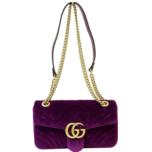 GUCCI GG Marmont Velvet Small Shoulder Bag Purple 443497