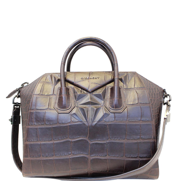 GIVENCHY Antigona Medium Croc Embossed Leather Satchel Shoulder Bag Brown