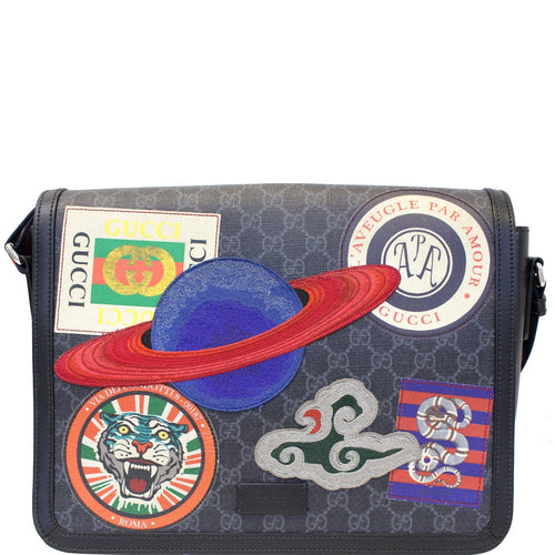 GUCCI  Night Courrier GG Supreme Flap Messenger Bag Black/Grey 474138