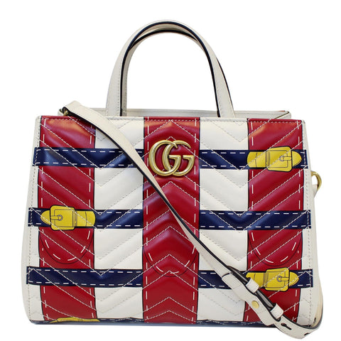 GUCCI Trompe L'oeil Print GG Marmont Top Handle Shoulder Bag