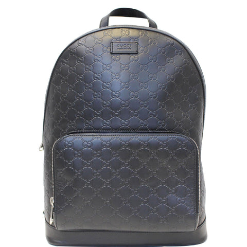 GUCCI GG Signature Leather Backpack Bag Black 406370