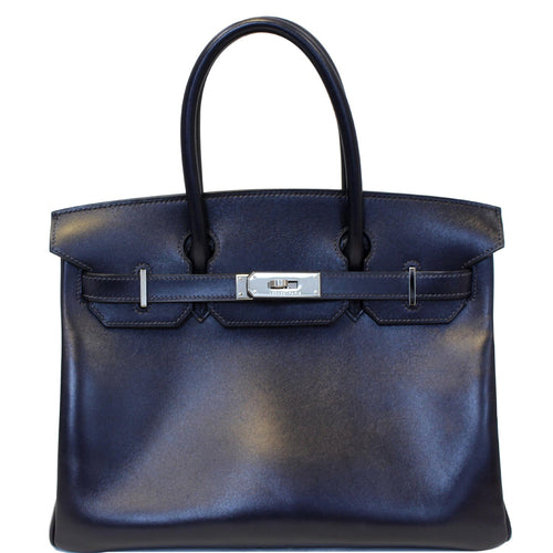 HERMES Birkin 30cm Smooth Calf Leather Silver Hardware Bag Navy Blue