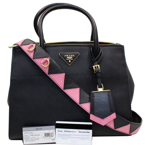 PRADA Paradigme Saffiano Leather Tote Shoulder Bag Black