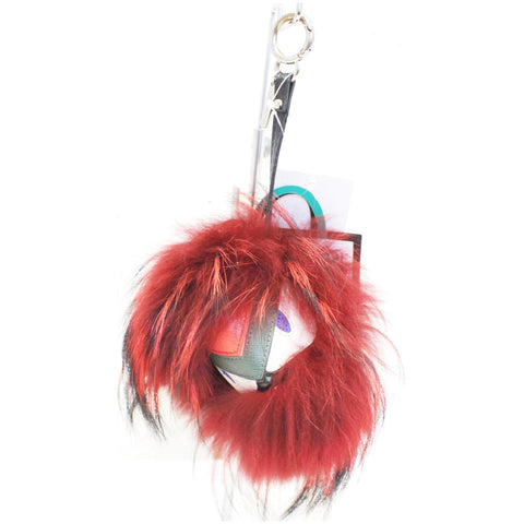 FENDI Fox Fur Monster Bag Bug Charm Red