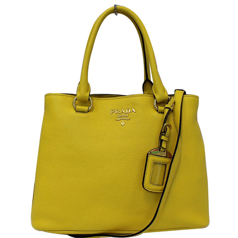 PRADA Vitello Phenix Leather Tote Bag Yellow