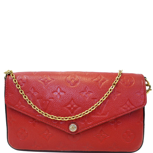 6c00d50a6044 LOUIS VUITTON Pochette Felicie Monogram Empreinte Chain Wallet Red