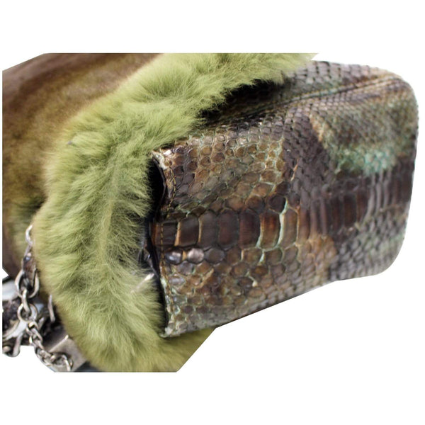 Chanel Jumbo Classic Fur and Python Leather Flap Bag corner view