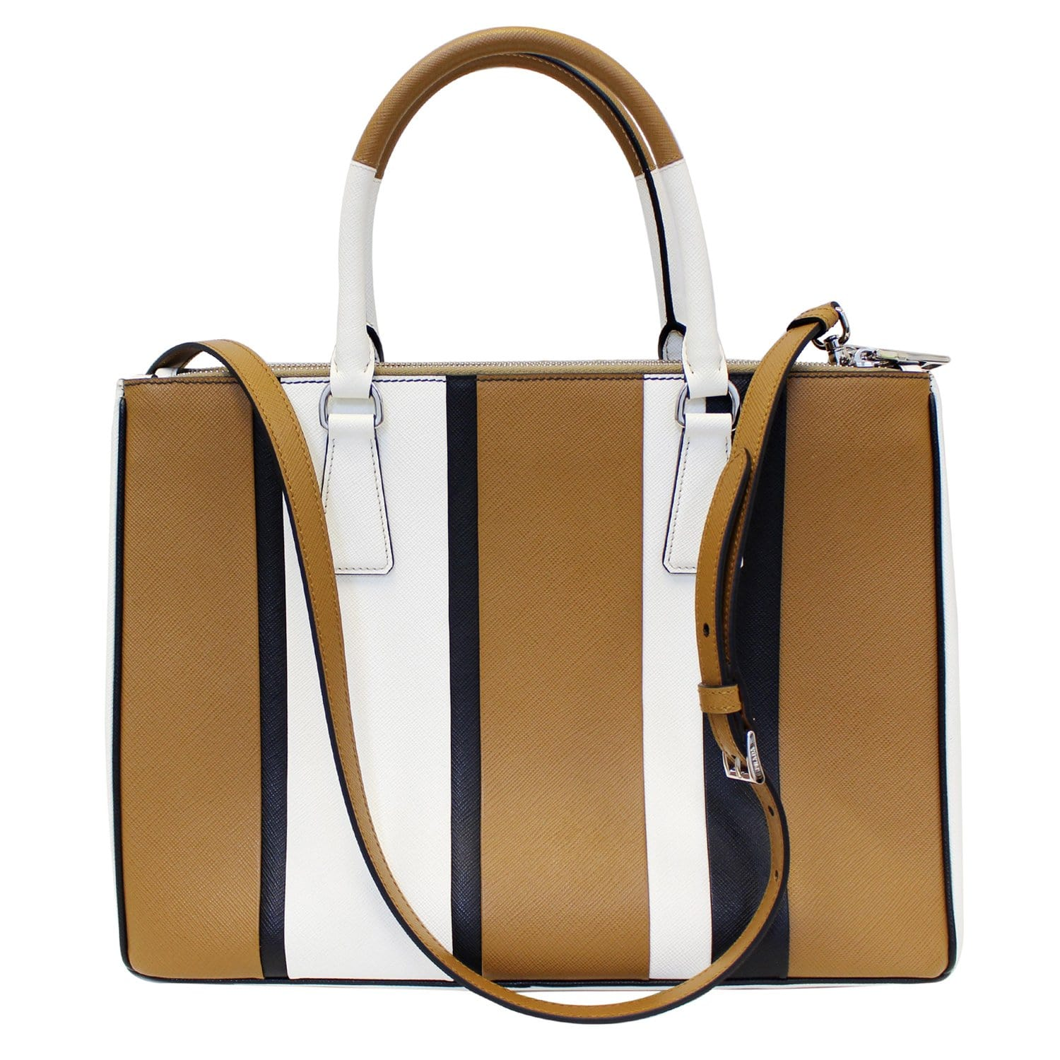fee7100b945385 PRADA Galleria Baiadera Striped Saffiano Leather Tote Bag