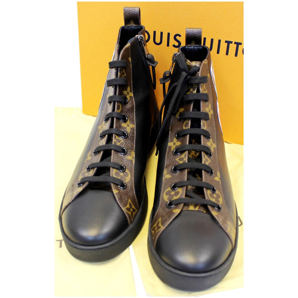 LOUIS VUITTON Checkpoint Monogram Sneaker Boot Noir Black US 10-US