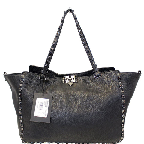 Valentino Rockstud Noir Black Leather Medium Tote Shoulder Bag