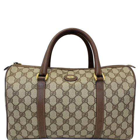 GUCCI GG Canvas Boston Satchel Bag Brown