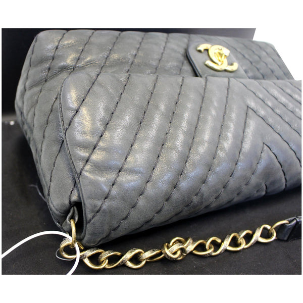 CHANEL Iridescent Calfskin Surpique Chevron Large Classic Flap Bag - Final Call