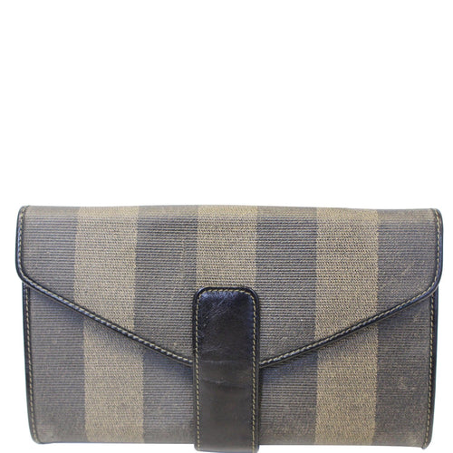 FENDI Vintage Pequin Stripe Wallet Brown